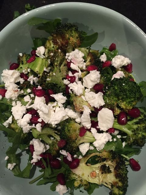 A delicious roasted broccoli, feta and pomegranate salad.  I think I went a bit heavy on the feta but I just love this cheese