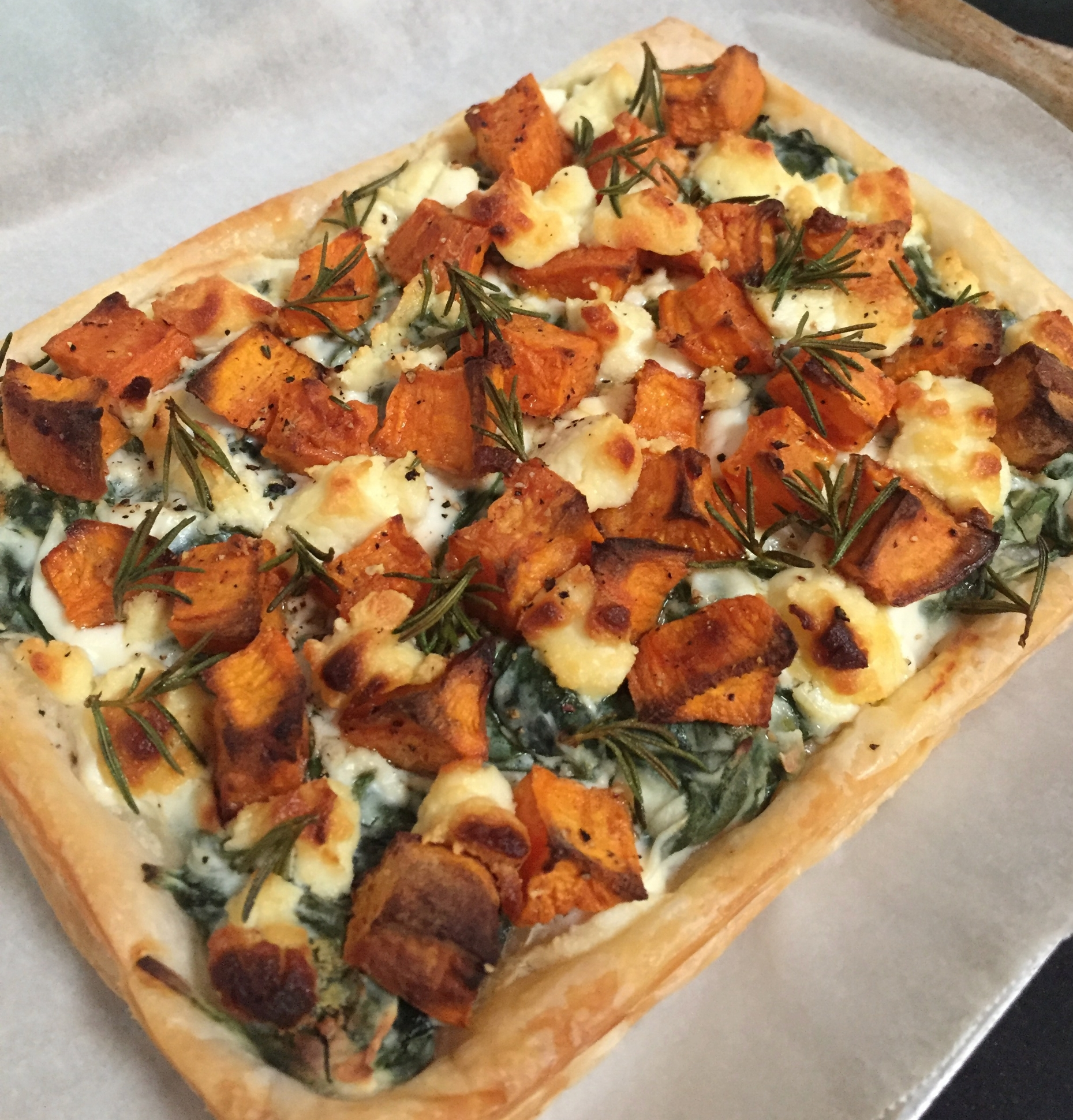 Roasted pumpkin, spinach & rosemary tart with the above Persian Fetta.