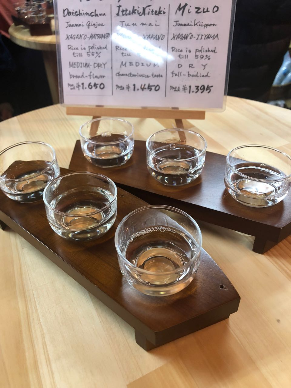 Three tastings and a choice between - Medium dry, Medium and Dry. I think you needed a more educated palate than ours to really appreciate the differences.