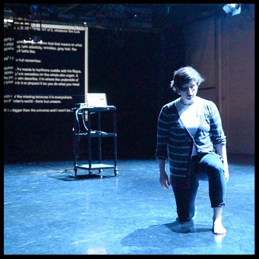 "Meg Foley in her work ""Elbows in/the undergird,"" at Flowchart. Screencap from footage by Francesca Chudnoff."