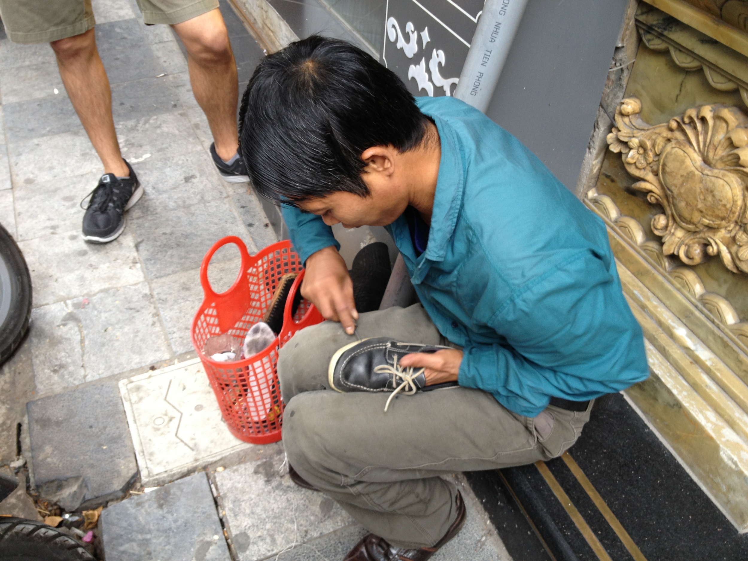 This guy pointed at a hole in Carla's shoe and demanded to fix it on the spot.