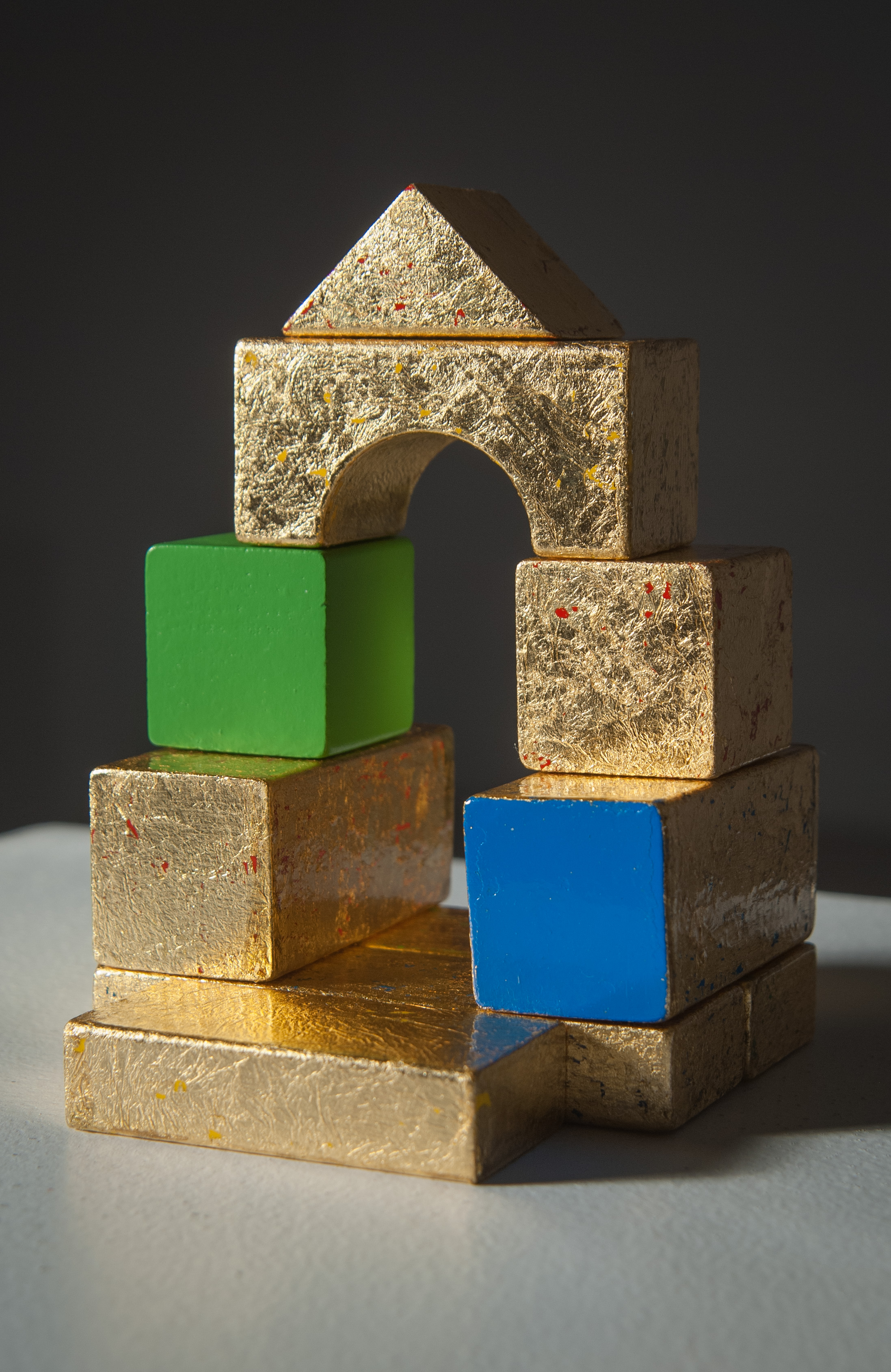 The Kingdom of Heaven is Like Eli's House, Gold leaf on wood blocks with sealant, 2013