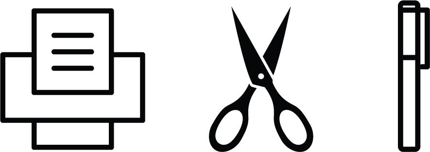 Printer, scissors, pen