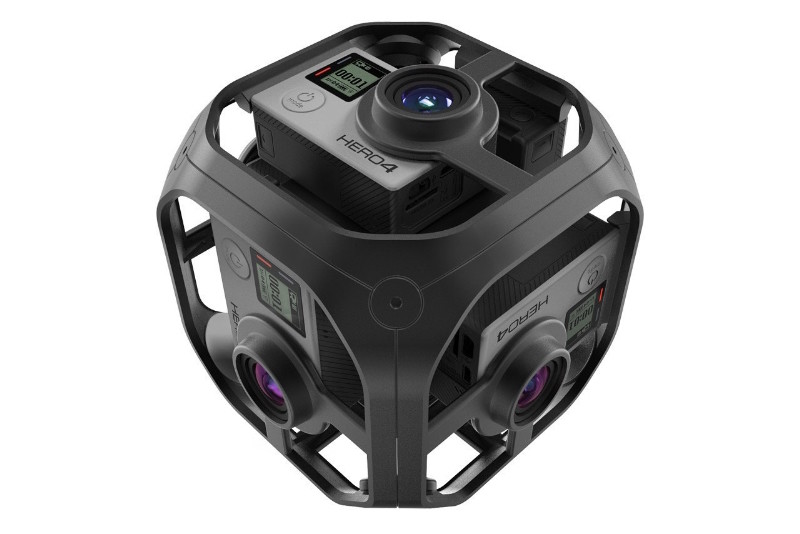 There are 6 GoPro cameras and a 360° case that will hold the camera's together.