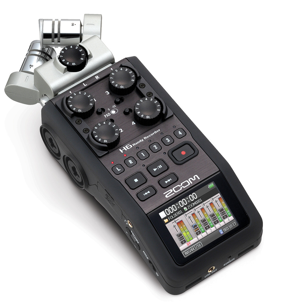 Zoom H6, a great field recorder for video and podcasting.