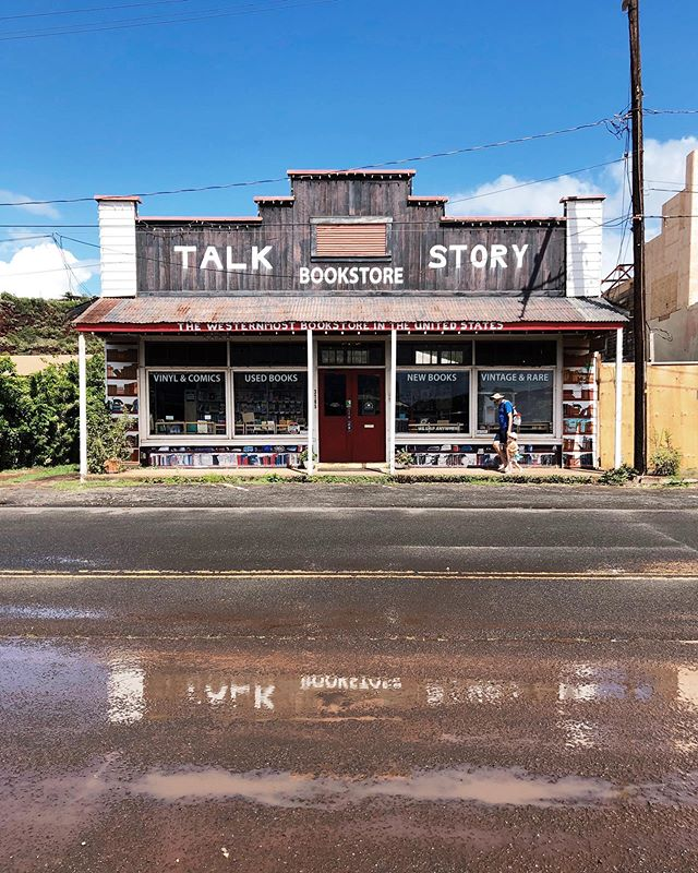 Talk Story Bookstore in Hanapepe.  The westernmost bookstore in the United States. I love this place and I think Ella shares the love as well.