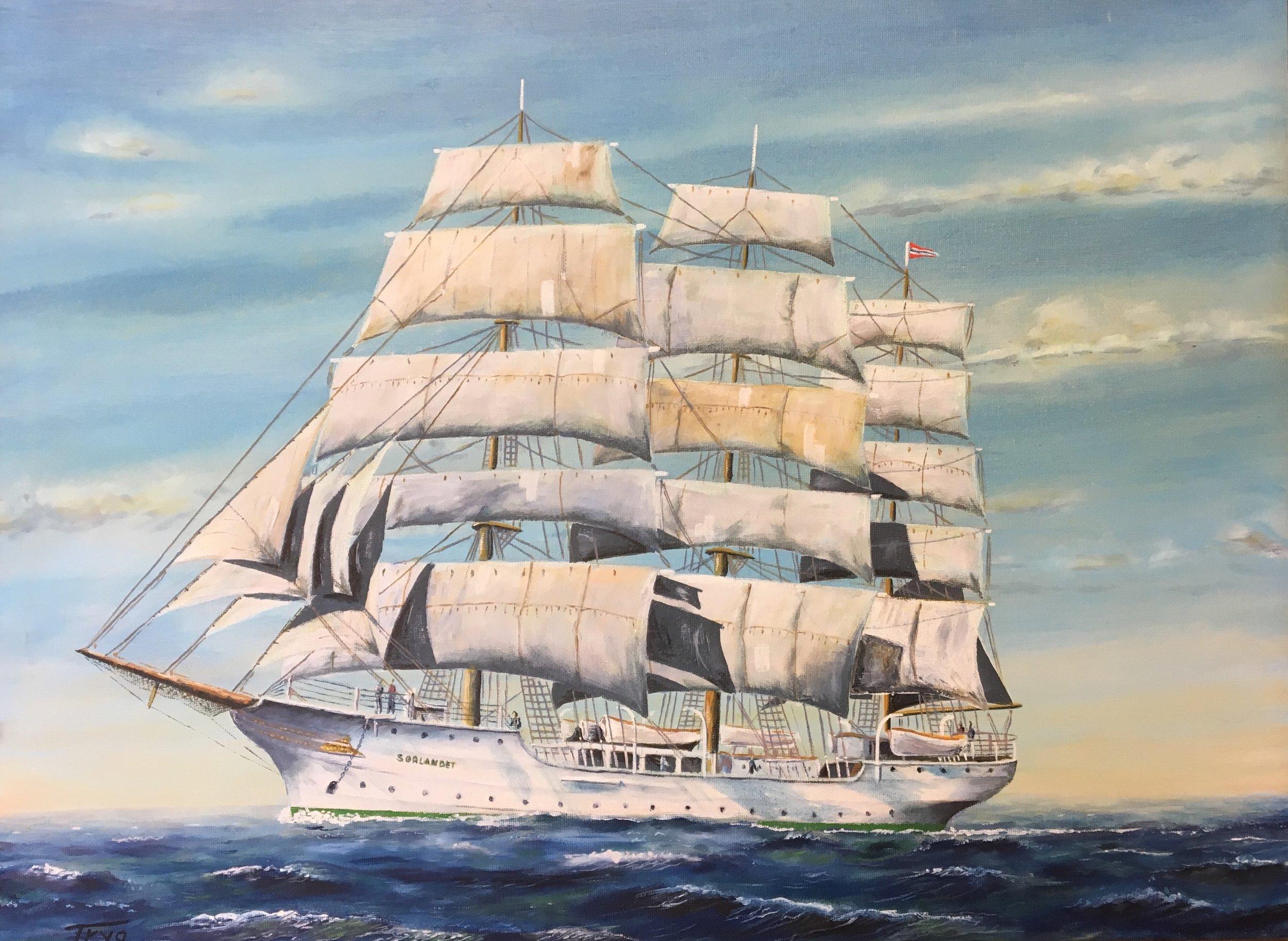Under Full Sails.Tryg Thorensen.18x24.Oil.jpg