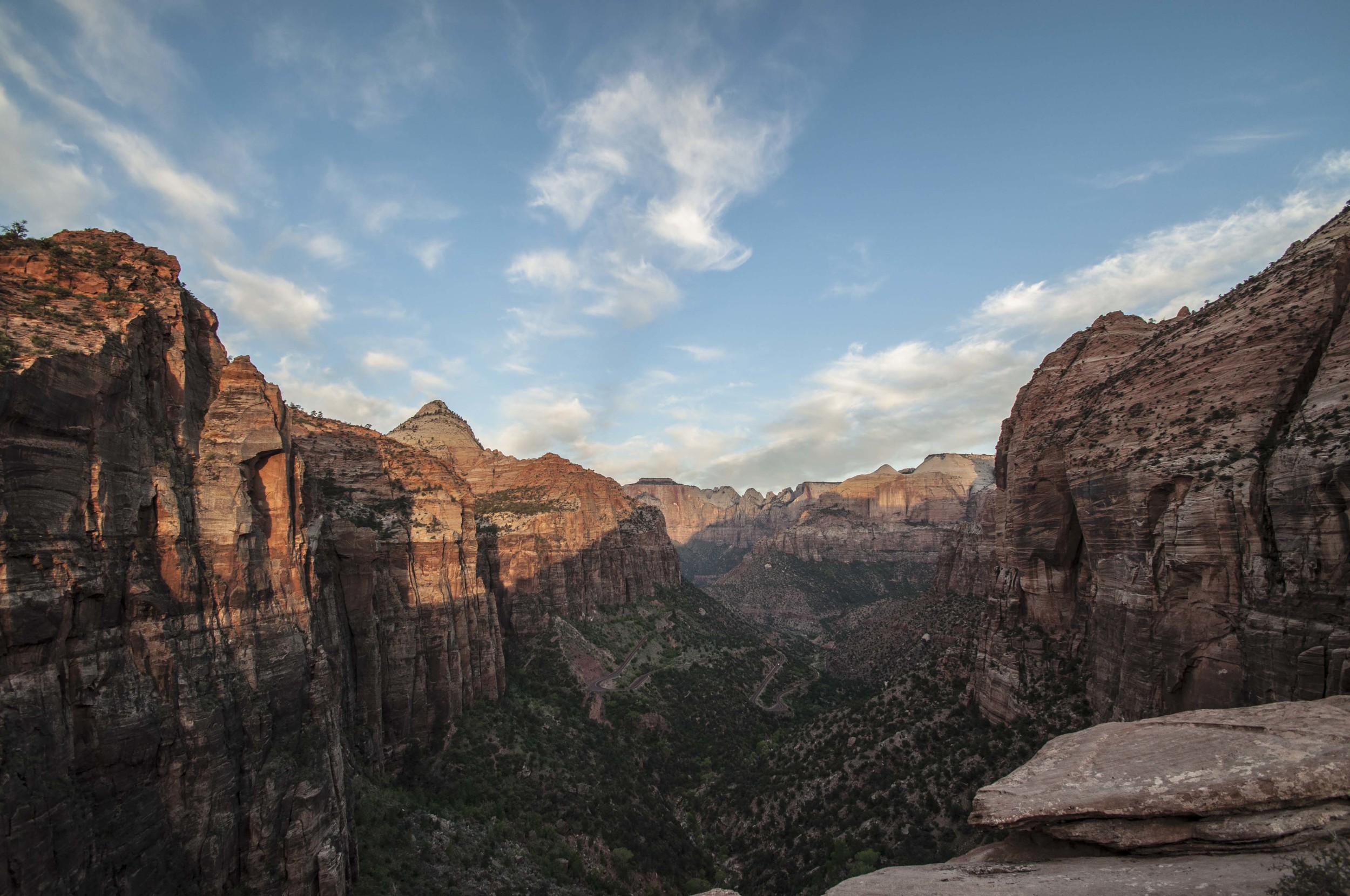 Zion Canyon at sunrise. Photo by Stefan Moser, post-processed by Christine Moser.