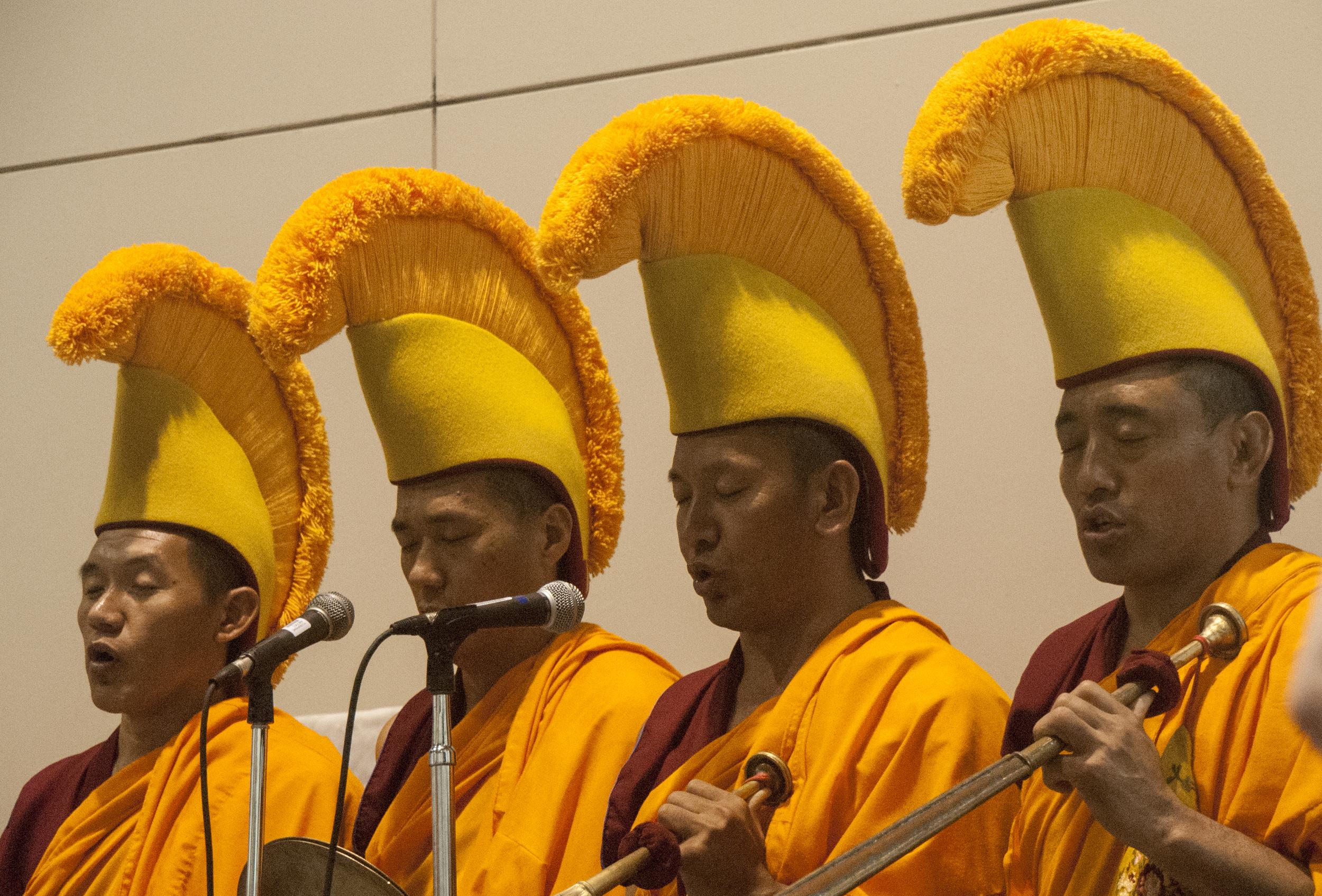 Tibetan Buddhist monks performing the ceremonial deconstruction chant