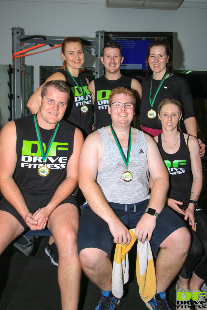 Drive Fitness Row & Ride Duathlon 2019 Final Winners:.Top: Robyn, Mike (Trainer), Robyn. Bottom, Lee, Ben, Sally (Trainer)