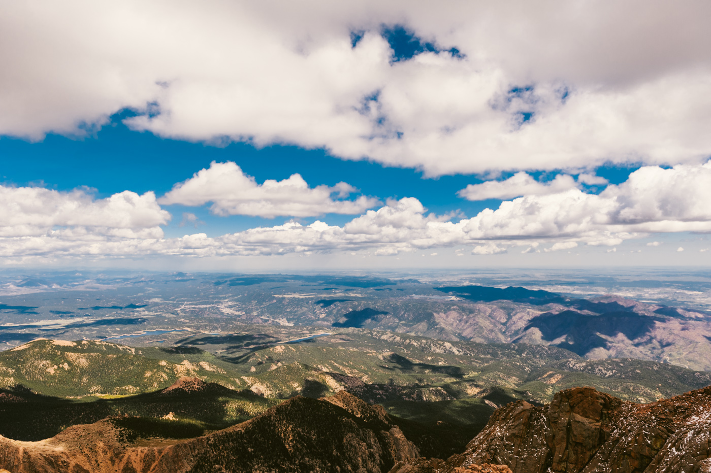 From the summit of Pikes Peak with an elevation of 14,110ft.