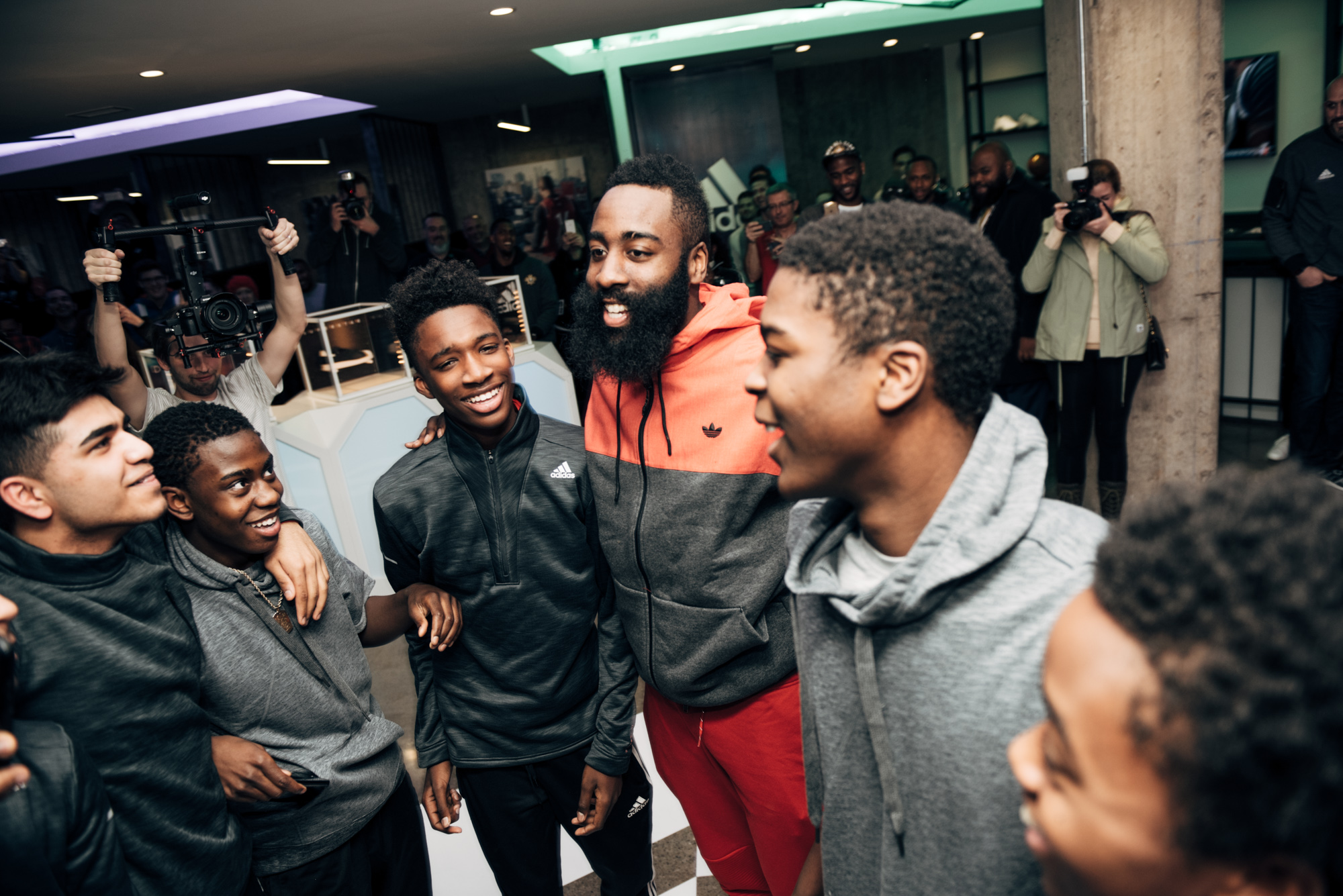 Houston Rocket's James Harden surprises a group of local high schoolers at the adidas product vault.