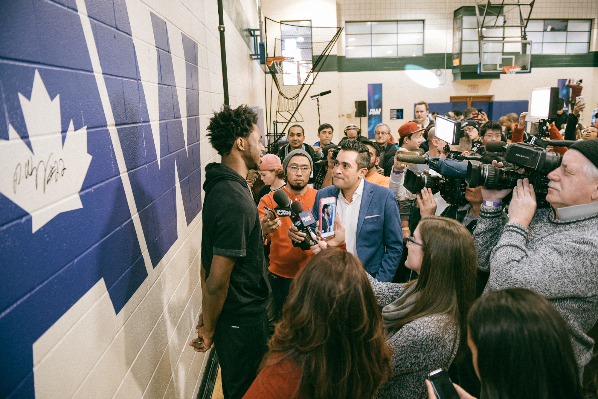 Andrew Wiggins taking media questions at the Dufferin Clark Community Centre gym