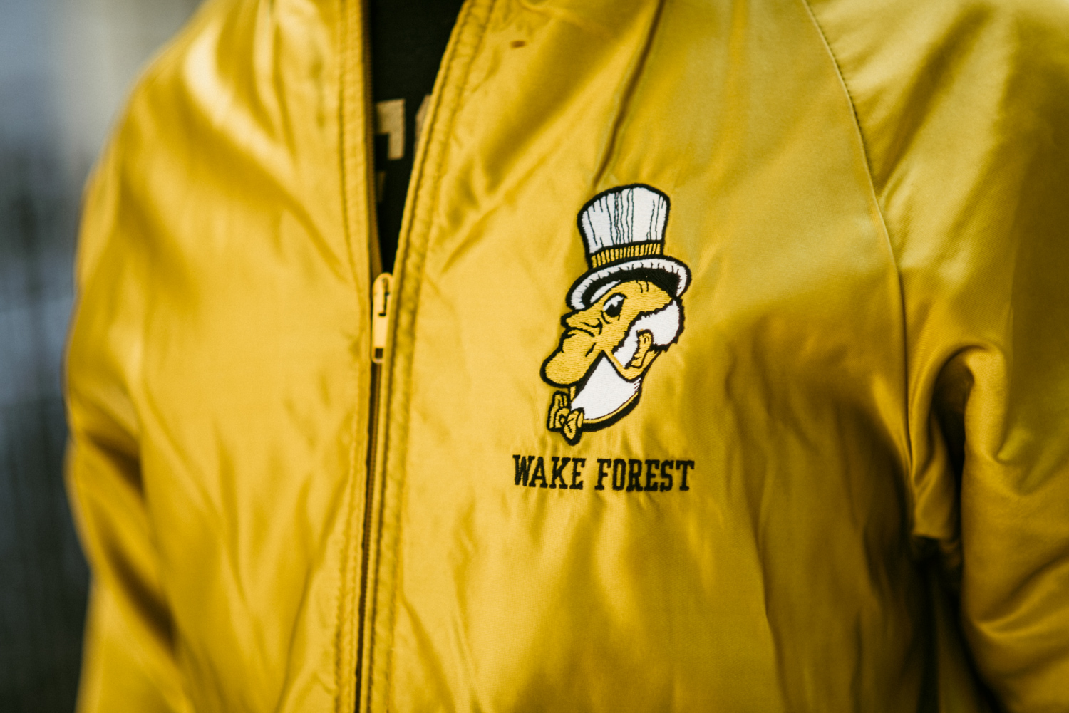 Detail of Jeff's vintage WFU jacket.