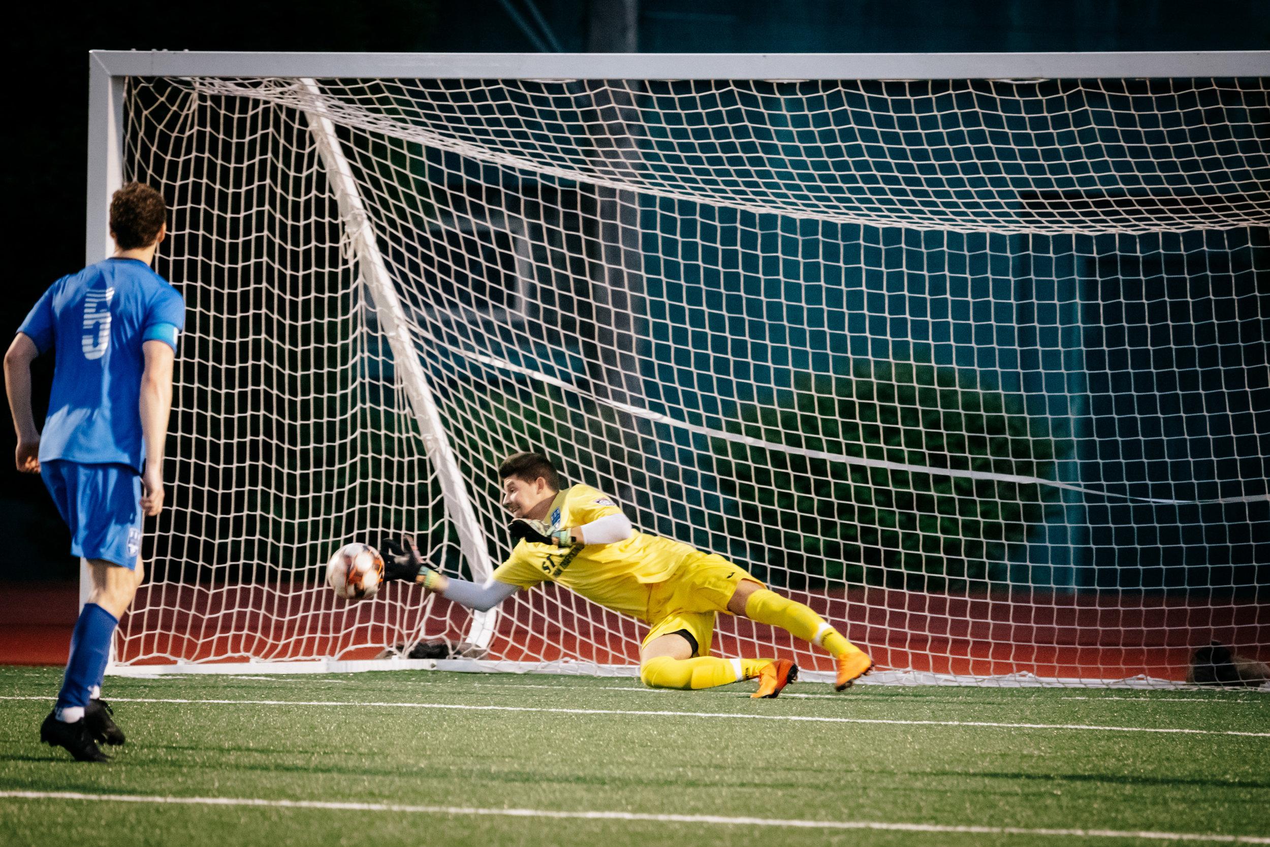 A big save from goalkeeper Nedin Kudic
