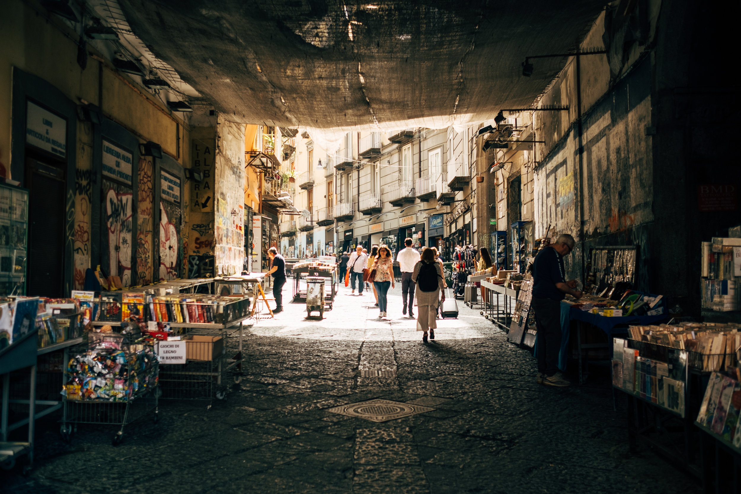 A walkway into the historic centre of Naples