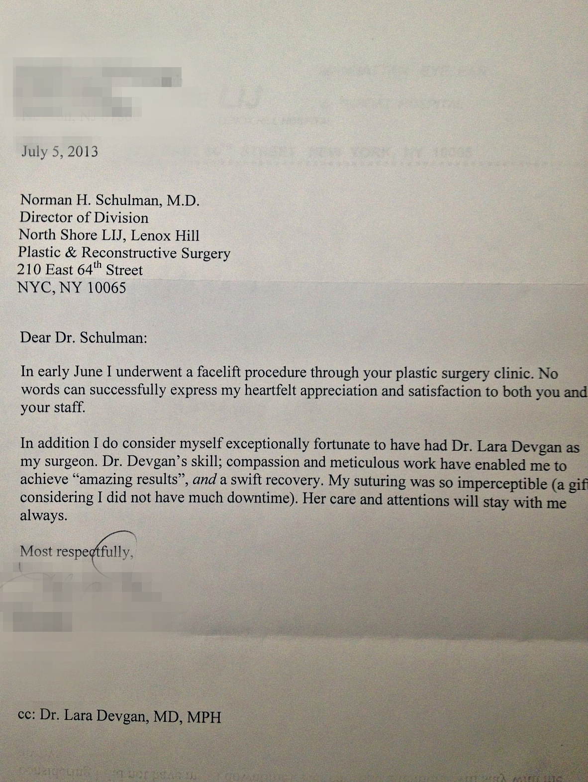 Letter from a facelift patient