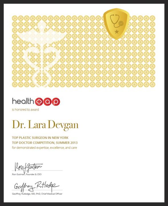 Top Plastic Surgeon in New York certificate, issued October 2013