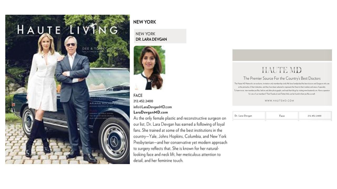Click to enlarge Dr. Devgan's feature in Haute Living Magazine.