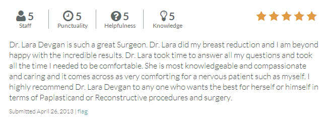 RateMDs.com review from a breast reduction patient