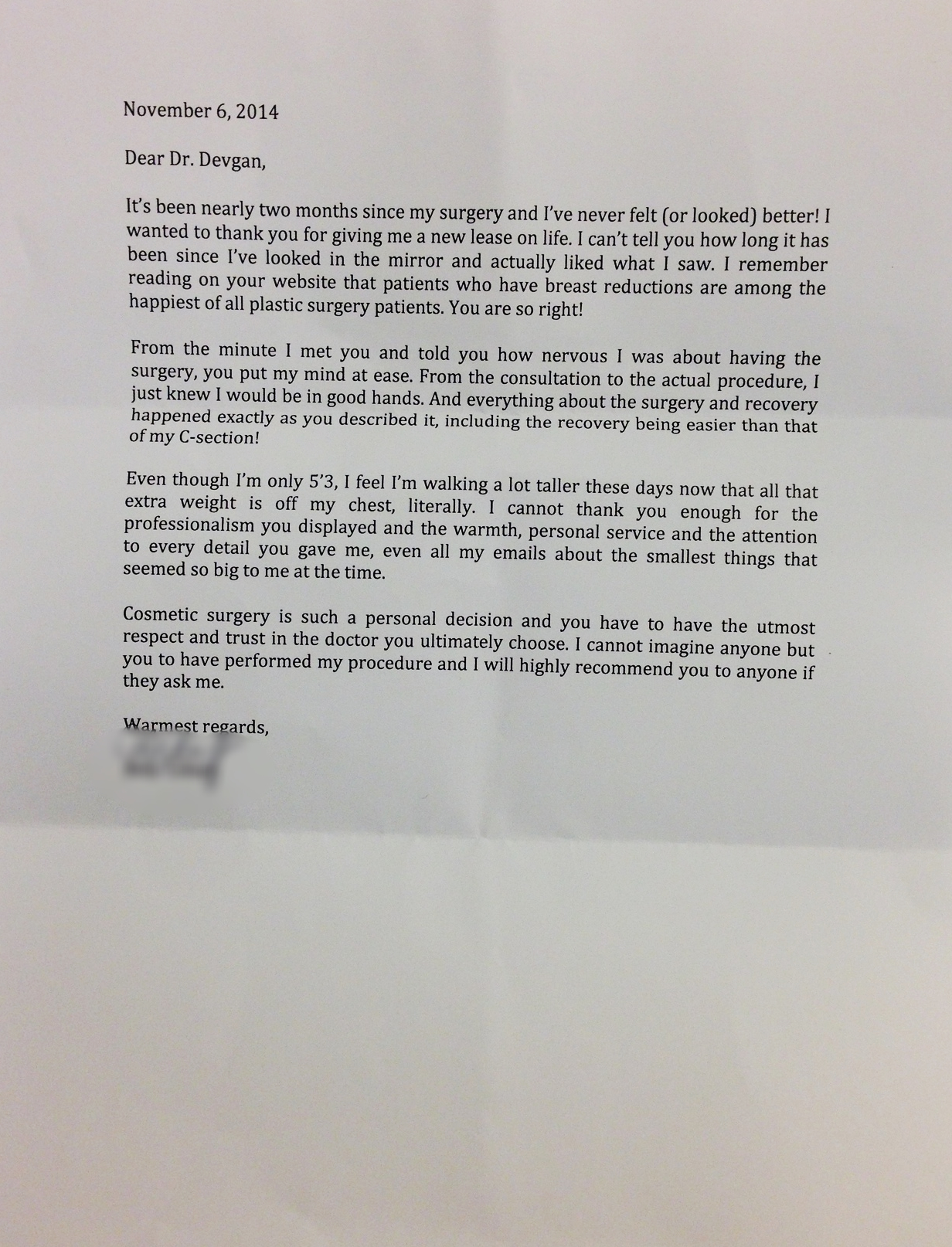 Letter from a breast reduction and liposuction patient, 11/6/14