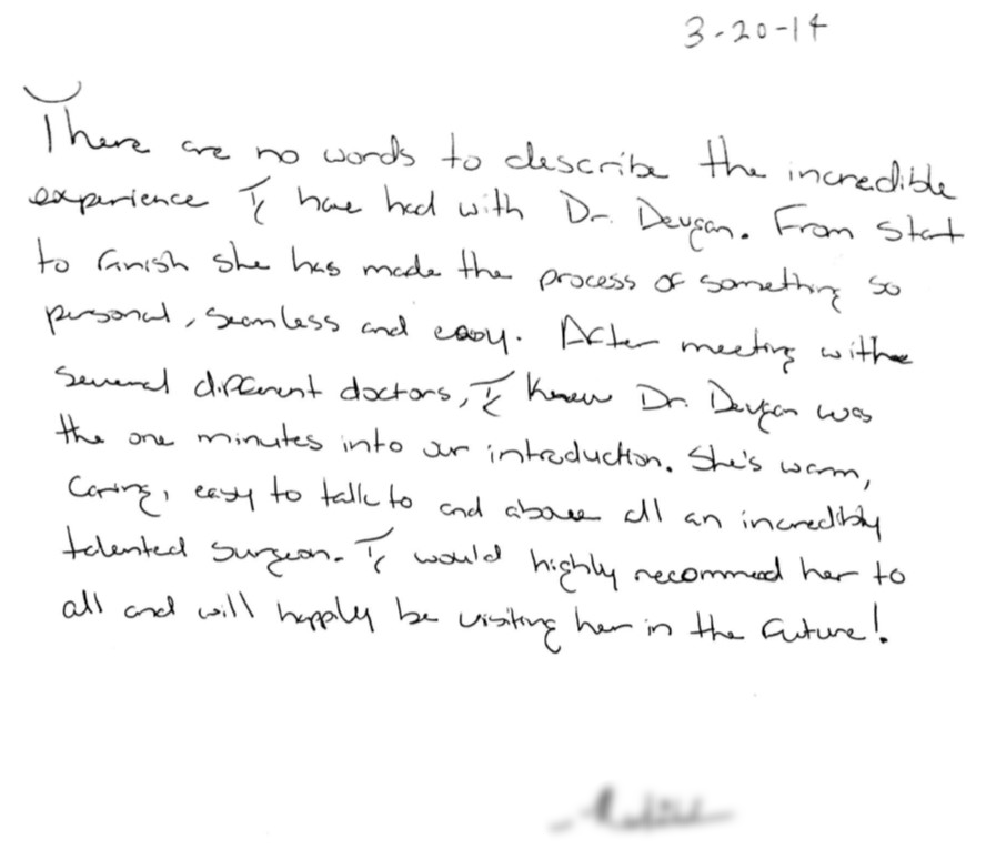 Letter from a female rhinoplasty patient
