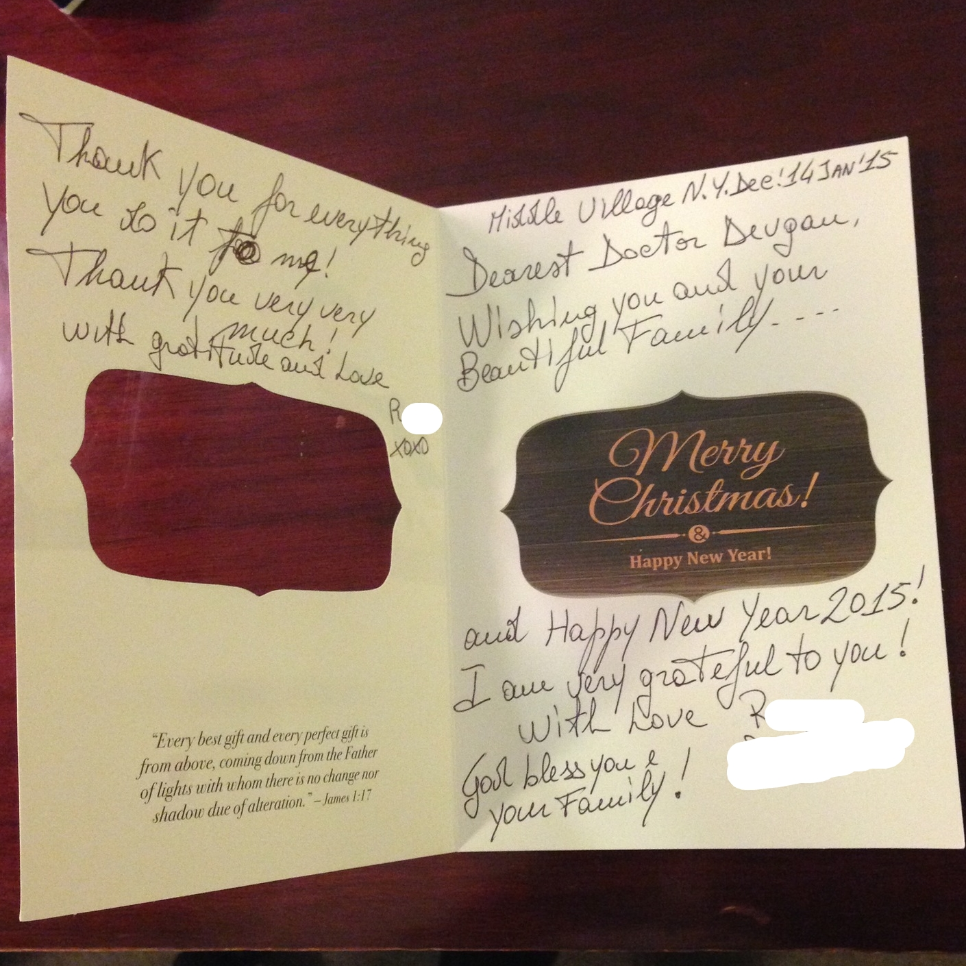 Card from a breast cancer patient