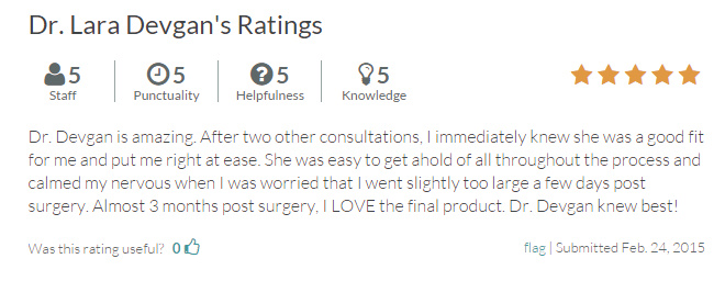 RateMDs.com review submitted by a patient in her early 20s