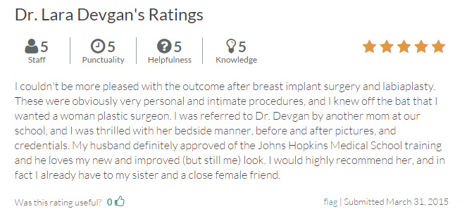 Verified patient review of labiaplasty and breast augmentation from RateMDs.com.