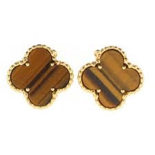 Van Cleef and Arpels Alhambra earrings in tiger's eye.