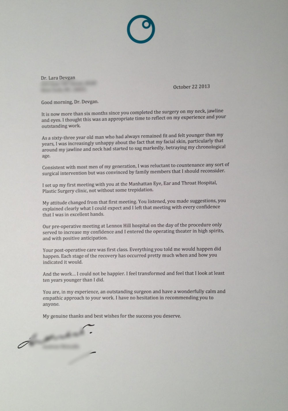 Letter from an upper and lower eye lift (blepharoplasty), necklift/ facelift patient.