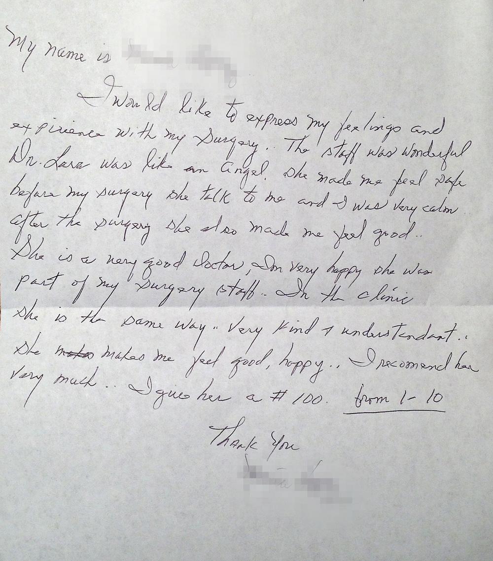 Letter from an uppereye lift (blepharoplasty), necklift/ facelift patient.