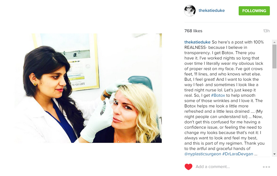 Instagram post review from a Botox patient