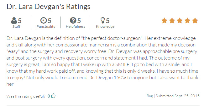 Verified review of Dr. Devgan from RateMDs.com.
