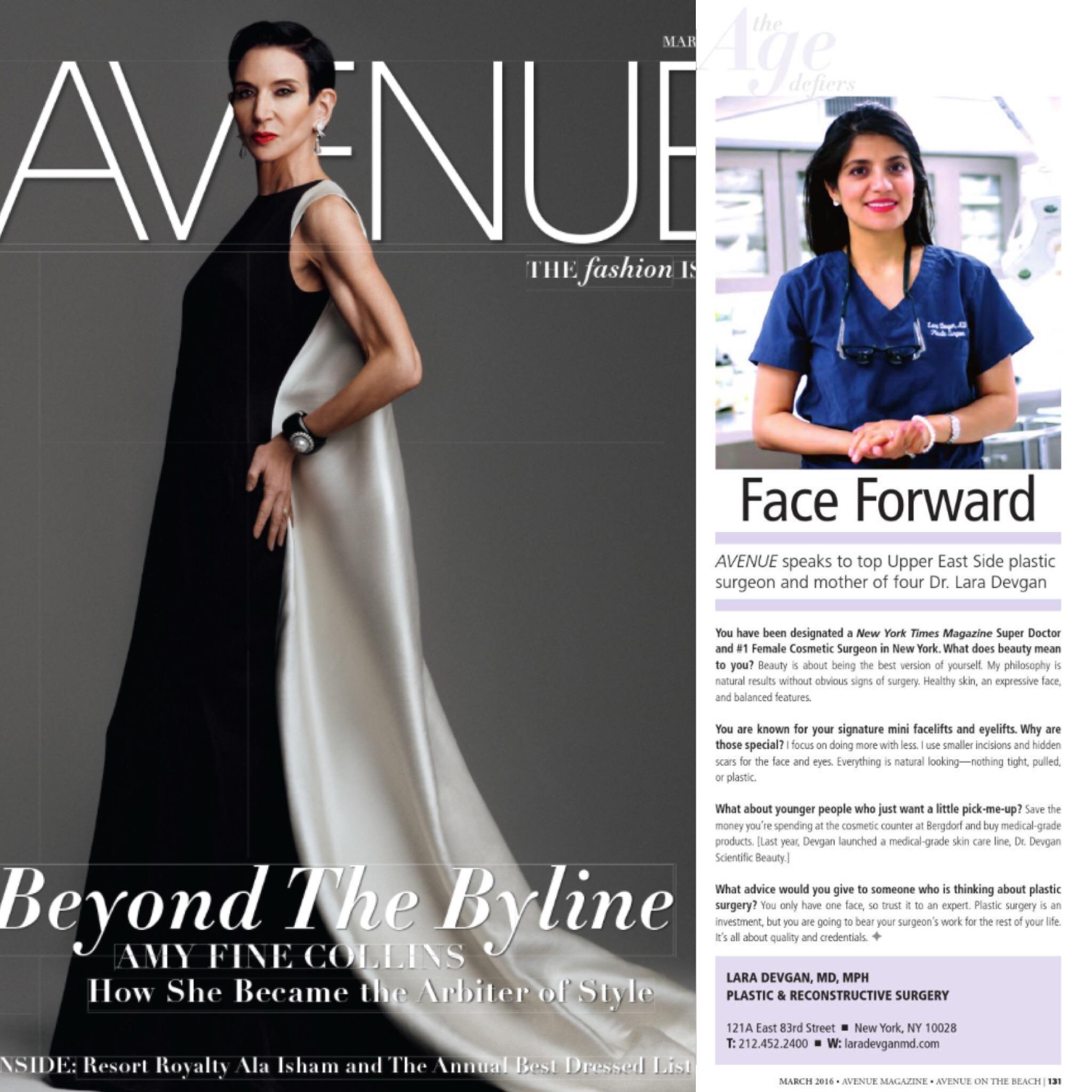 Avenue Magazine Dr. Lara Devgan plastic surgeon NYC