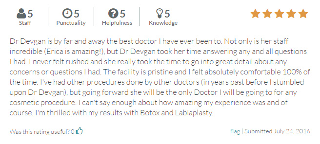 RateMDs.com review from a labiaplasty and botox patient