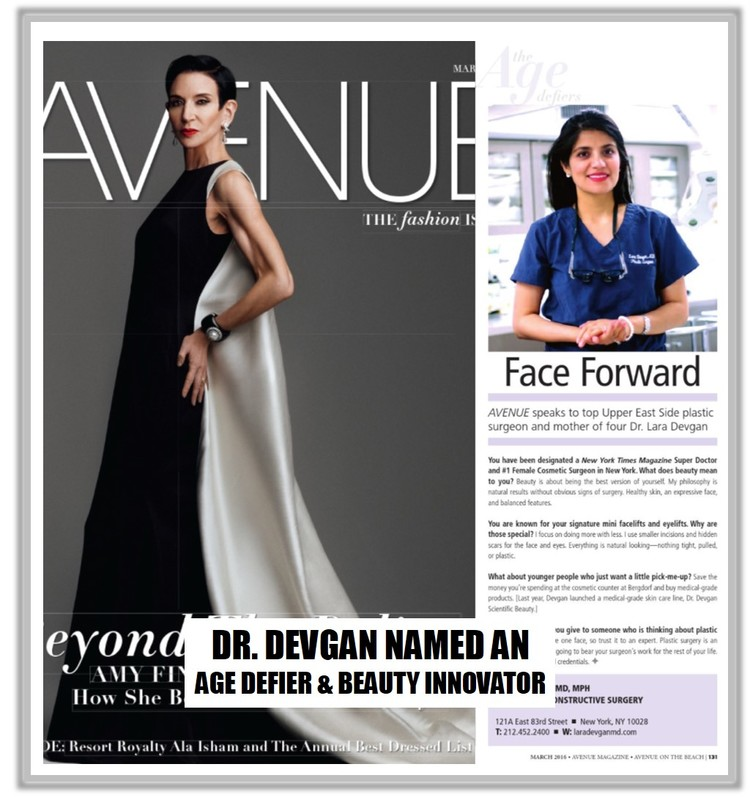 Dr. Devgan named an Age Defier & Beauty Innovator in Avenue Magazine