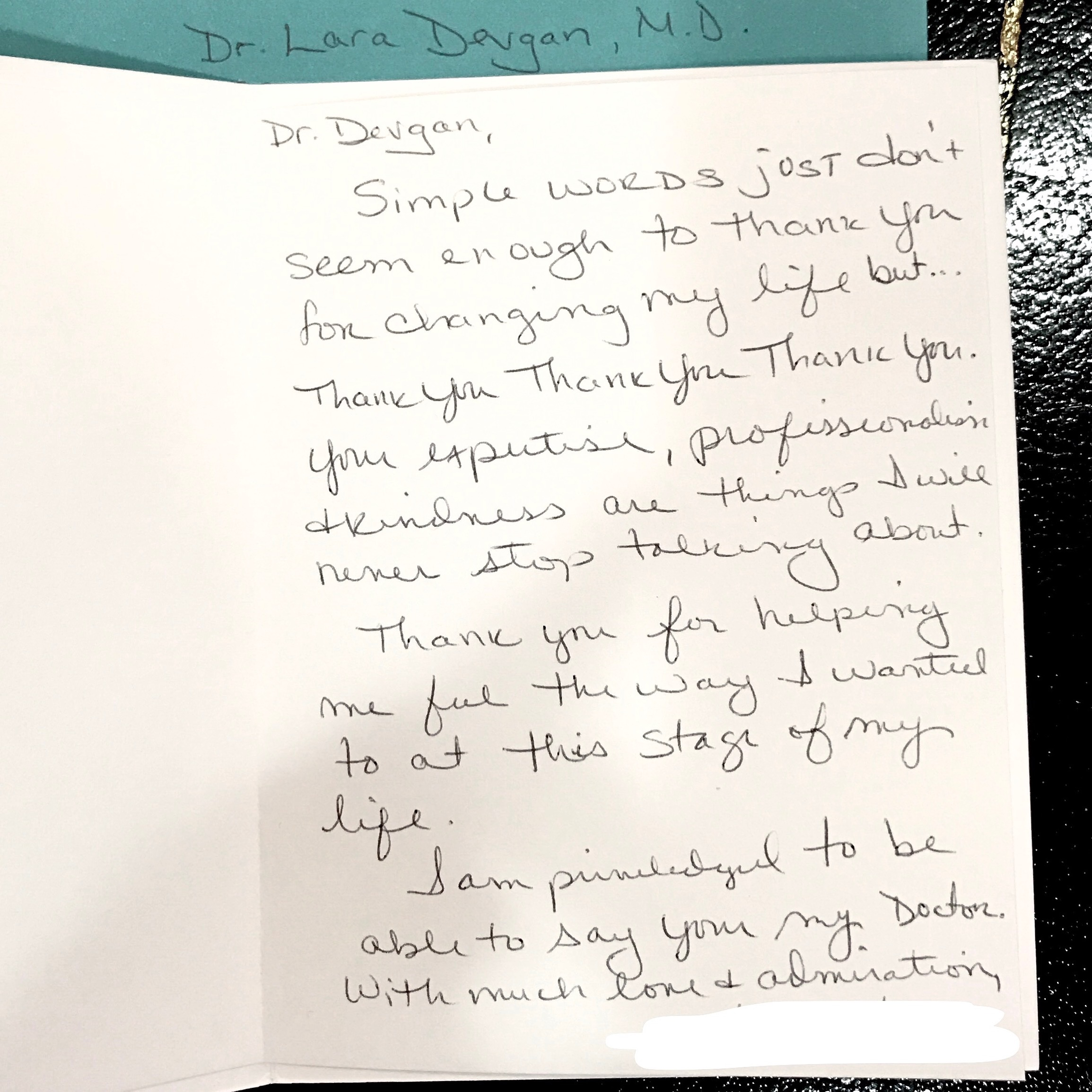 Card from a cosmetic patient, 3/2017