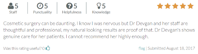 RateMDs.com review from patient with natural results