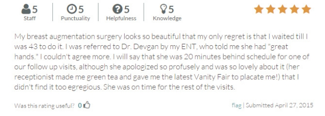 RateMDs.com review from a breast augmentation patient