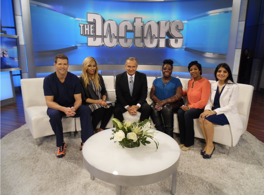 Dr. Devgan with Francine and the hosts of The Doctors.