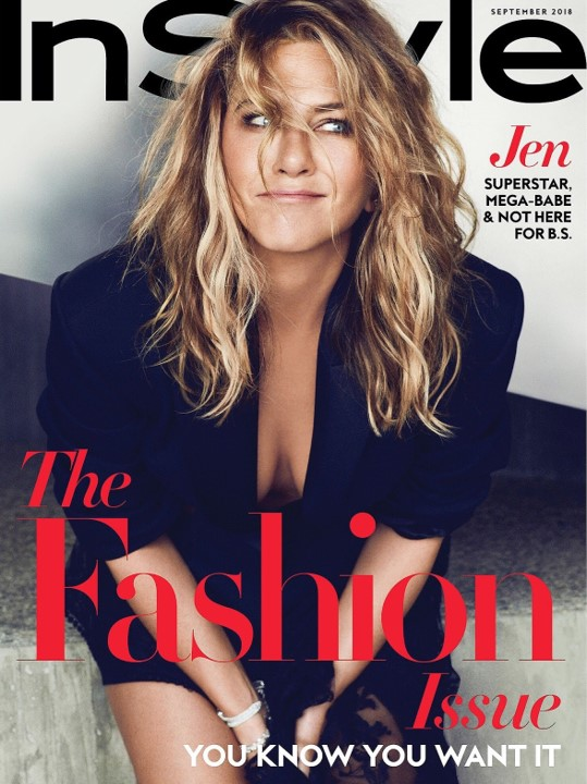 Jennifer Aniston wears Devgan Scientific Beauty Platinum Lip Plump on the cover of the September 2018 issue of Instyle magazine.