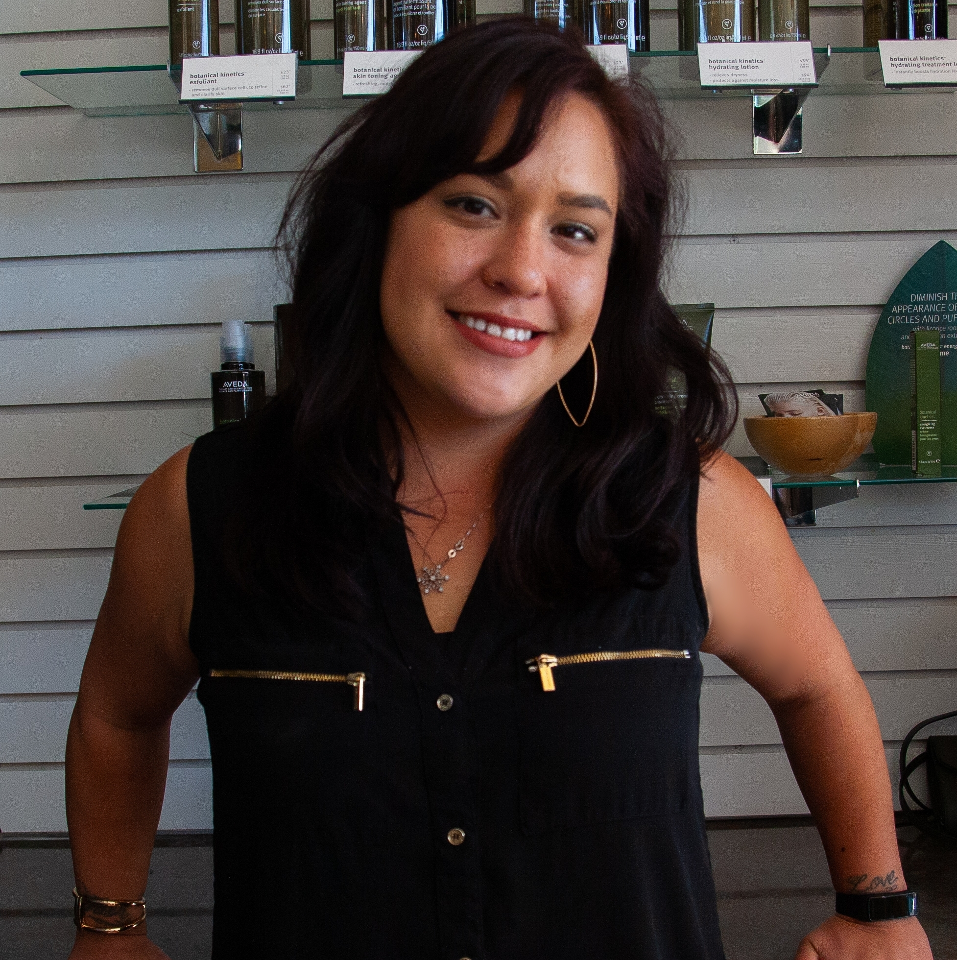 Chris - Want crazy fun color?! ... Chris loves that! She loves to indulge hair fantasy with her Aveda eclipting skills. Another fun thing about Chris is her passion for artistic barbering and men's cuts. Her clean lines make any man look just a little more dapper.