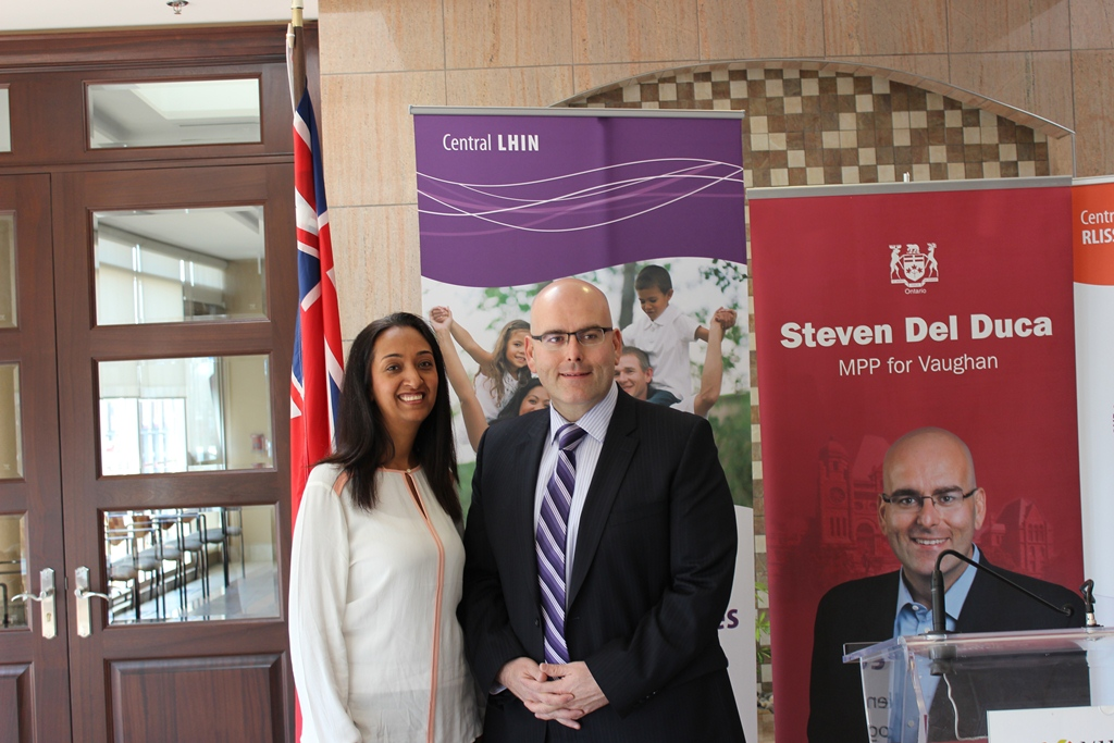 Roya Fereidooni (left), In-Form Physiotherapy and Rehabilitation Centre Clinic Owner, with Steven Del Duca (right), MPP Vaughan.