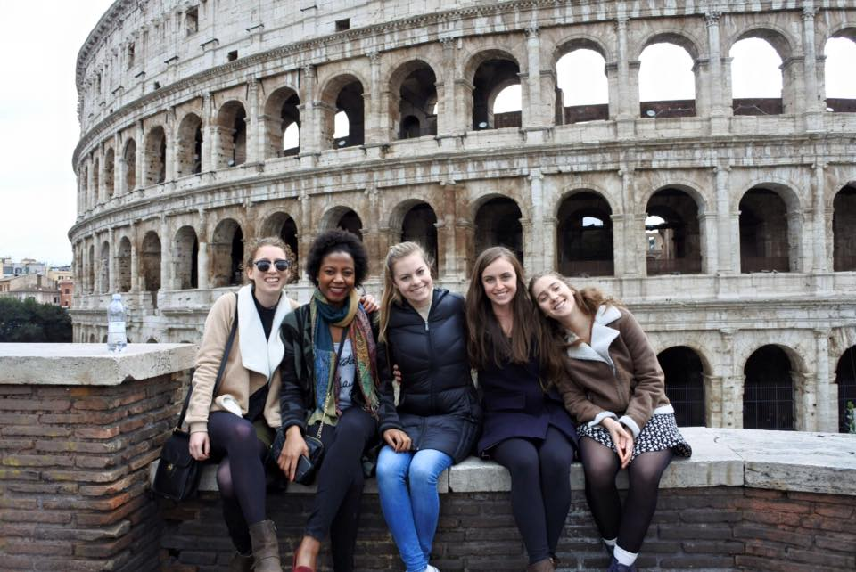 Mysha (second from right) and friends at the Colosseum