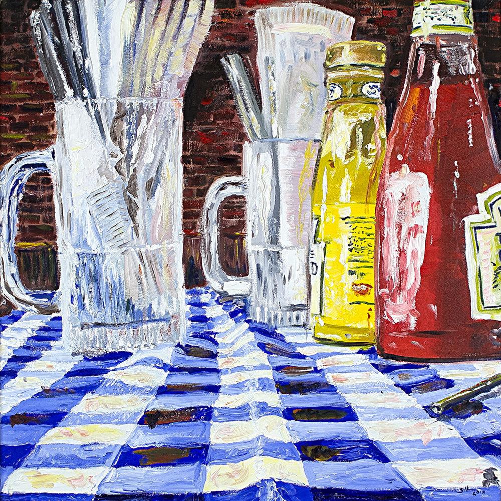 """Stagger Inn   oil on canvas 30"""" x 30"""""""