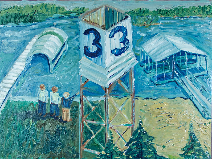 Mile Marker Three  oil on canvas 40 x 30 inches
