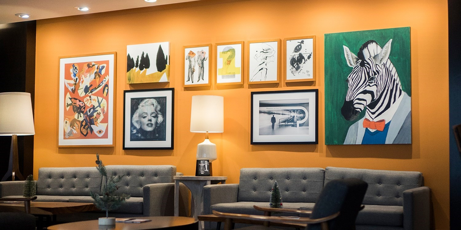 Corporate Prints - One and Two Letterpress Print hanging with friends at the Liaison Capitol Hill Hotel in Washington D.C.