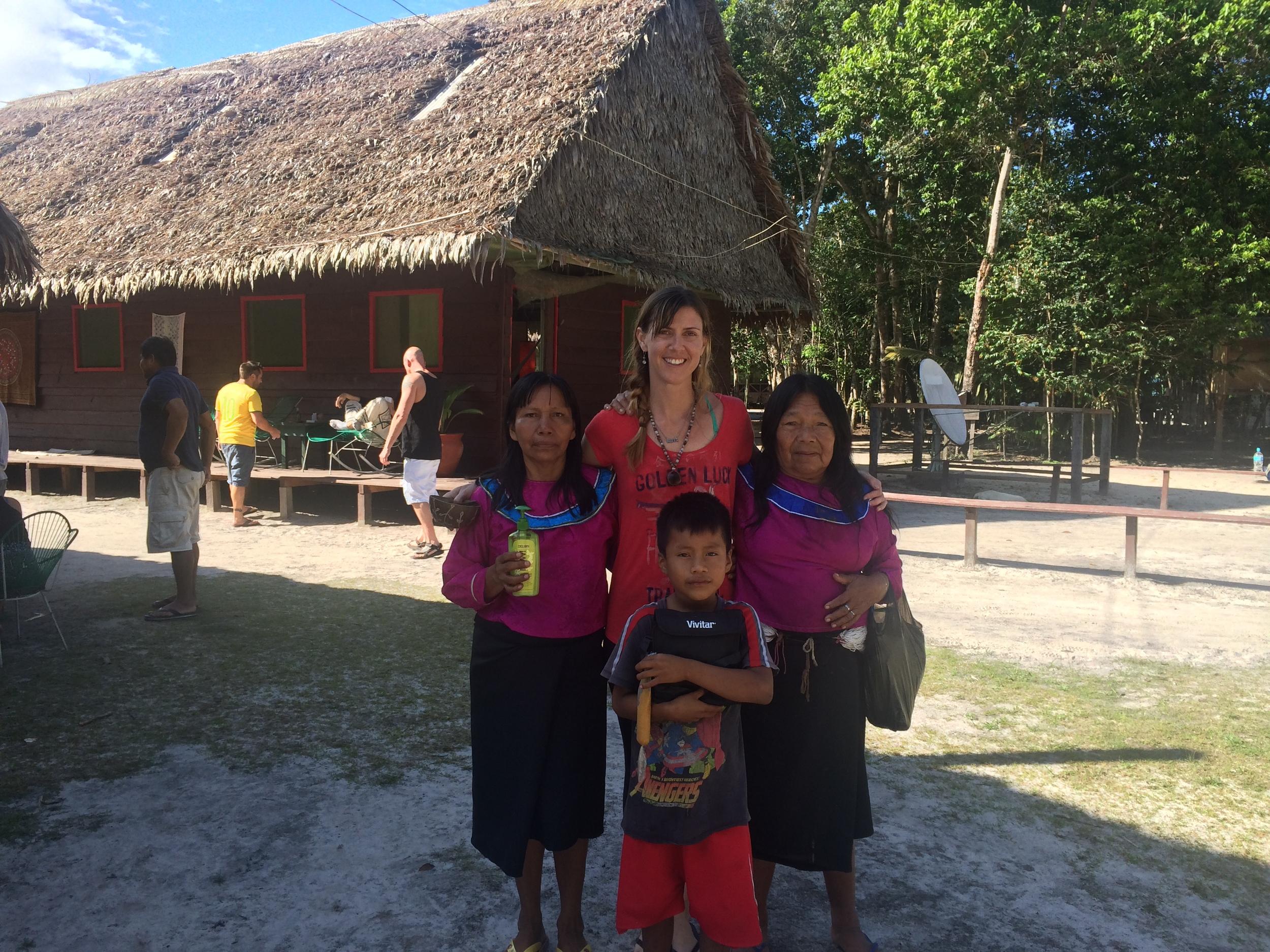 Me at the Nihue Rao Spiritual Center with 2 Shipibo medicine women and a future shaman-to-be.