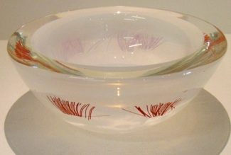 Pohutukawa Bowl $199 130mm diameter x 50mm high. Also available in cream with red.